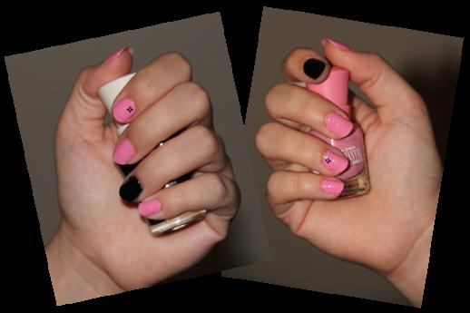 Nail art rose et noir