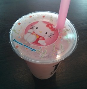 Bubble tea cerise avec billes au yaourt